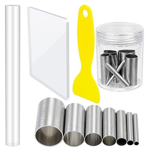 Homgaty 10 Stück Polymer Clay Tools Set,7 Modellierung Ton Round Carving Kits mit 1 Tonwalze,1 Acryl-Trägerplatte und 1 Kunststoffschaber für DIY-Tonkeramikhandwerk