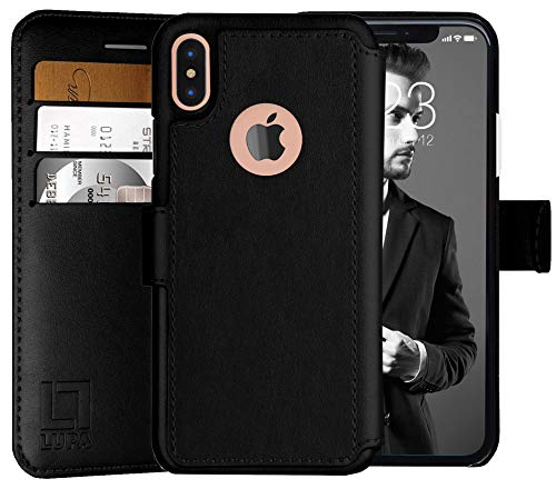 LUPA iPhone X Wallet Case -Slim & Lightweight iPhone X Flip Case with Credit Card Holder - iPhone 10 Wallet Case for Women & Men - Faux Leather i Phone Xs Purse Cases with Magnetic Closure – Black