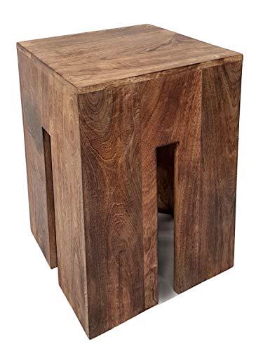 casamia Sitzhocker Sitzwürfel 28 x 45 x 28 cm Quadratischer Hocker Beistelltisch Blumensäule Mangoholz