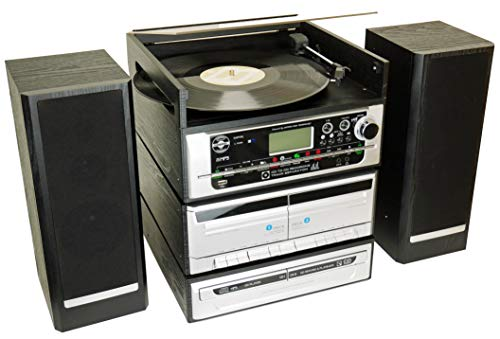 Steepletone CAPITOL Music Stack System, CD Burner. CD RECORDING 6-in-1 Modular Music System. Vinyl Record Turntable, Twin CD, Twin Cassette. MP3, USB, FM Radio, AUX, Remote. Amp/Speakers. Black/Silver