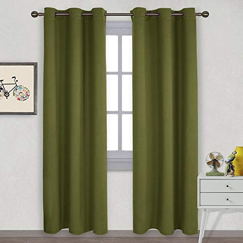 NICETOWN Holiday Decor Thermal Insulated Solid Grommet Blackout Curtains/Drape for Living Room on Christmas & Thanksgiving (1 Pair, 42 by 84 inches, Olive Green)