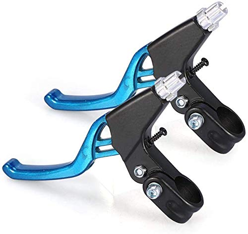 HUGEE Leve Freno Bici - Freno Leva Freno a Mano Universale in Lega di Alluminio per Bici,Applicare su Bici da Strada MTB BMX Freno Bicicletta,Diametro 2,2 cm,Una Coppia (Blu)