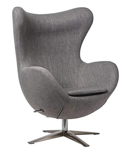 shumee Un mueble moderno, el sillón de diseño con forma de huevo, tejido melange de color gris.