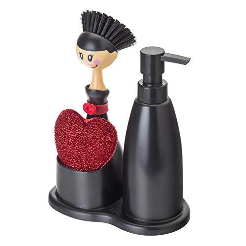 Vigar Dolls - Set da cucina con dispenser sapone, spugna e pennello lavapiatti, Nero/Rosso