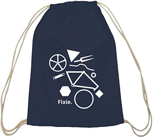 ShirtStreet, Fixie Puzzle, Bike Singlespeed Fahrrad Baumwoll natur Turnbeutel Rucksack Sport Beutel, Größe: onesize,dunkelblau natur