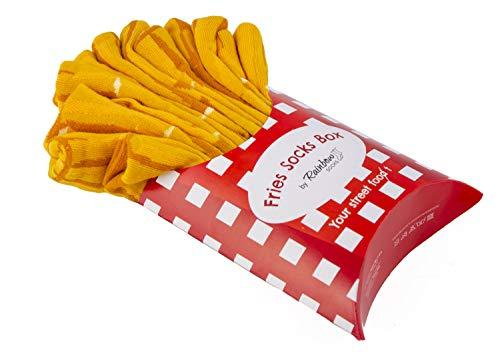 Rainbow Socks - Hombre Mujer Divertidos Calcetines de Papas Fritas - 2 Pares - Talla 41-46
