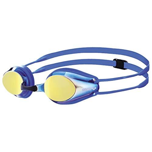 arena Kinder Unisex Wettkampf Schwimmbrille Tracks Jr. Mirror (Verspiegelt, UV-Schutz, Anti-Fog Beschichtung), Blueyellowrevo-Blue-Blue (73), One Size