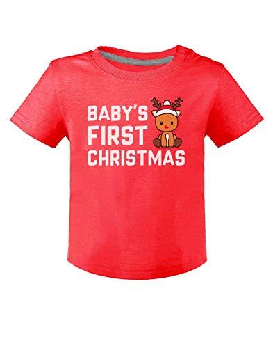 Mon Premier Noël Renne Super Mignon T-Shirt Bébé Unisex 6M Rouge