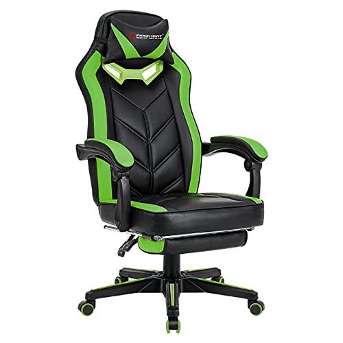 JL Comfurni Gaming Stuhl Bürostuhl Racing Stuhl Ergonomischer Gaming Chefsessel Schreibtischstuhl mit Armlehne Computerstuhl PC Stuhl mit Kopfstütze und Fußstütze aus Kunstleder (Grün)