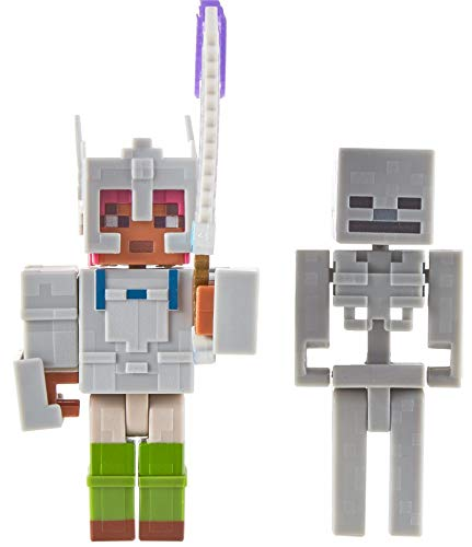 Mattel Minecraft Dungeons 3.25-in Figures 2-Pk Battle Figures, Adriene and Skeleton with Battle Accessories Age 6 and Older