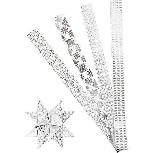 Papierstreifen für Fröbelsterne, B 40 mm, D: 18 cm, Weiß, Silber, XL - Metallfolie, 40Streifen, L 100 cm