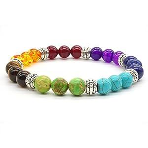 Achat Perlen 7 Chakras Energie Stein Armband Yoga Healing Balance Stein Armkette Elastisches Steinarmreif (Colour1)