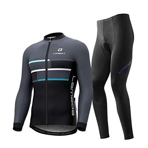 CptBtptPyy Automne Hiver Thermique Maillot,Vêtements de Cyclisme d'hiver, Veste en Molleton pour Hommes, Combinaison de vélo de Montagne en Polaire Coupe-Vent et Chaude-6_3XL