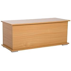 HOMCOM Baúl Madera Armario Bajo de Almacenaje Banco Asiento Arcón Multiusos Caja de Juguete Taburete para Cama 100x40x40cm