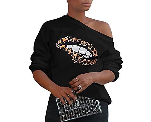 shirts Mujeres Leopard Off Shoulder T para la moda causal Pullover Tee Tops
