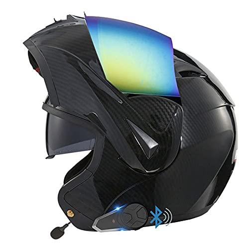 Casco De Moto Modular Bluetooth Integrado,ECE Homologado,con Doble Visera Cascos De Motocicleta,Radio FM Incorporada,Función De Intercomunicador,Dispositivo De Conexión Bluetooth