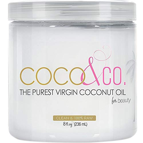 COCO & CO. Organic Pure Extra Virgin Coconut Oil for Hair & Skin, Beauty Grade, 8 Fl Oz (Pack...