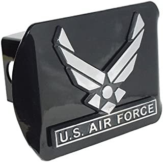 MVP Accessories US Air Force Wings Black Metal Trailer Hitch Cover with Metal Logo