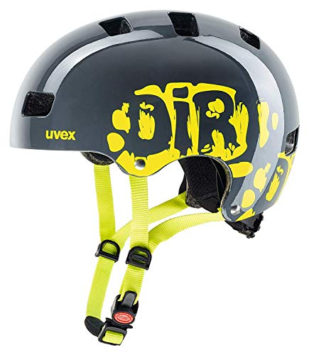 uvex Unisex Jugend, kid 3 Fahrradhelm, dirtbike grey-lime, 51-55 cm