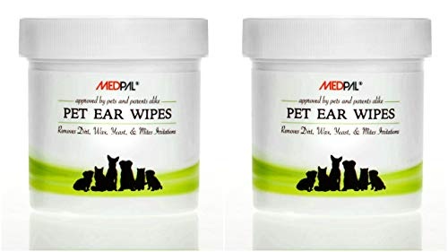MedPal Professional Pet Ear Cleansing Wipes for Dogs and Cats - Dog Ear Wipes Used to Stop Itching, Prevent Mites, Yeast & Ear infections. - Advanced Formula! (200 Count)