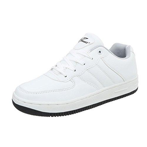 Ital Design Turnschuhe Herren-Schuhe Low-Top Schnürer Schnürsenkel Sneaker Weiß, Gr 44, K891F-1-