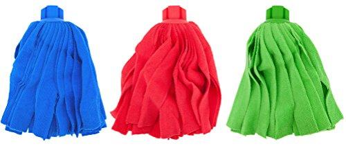 PAMEX - Mocio in microfibra a strisce, colori assortiti, set da 3 pezzi, 3 colori, 3 usi