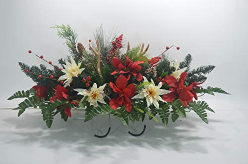 Cemetery Flower, Christmas Cemetery Arrangement , Headstone Saddle, Grave, Tombstone Arrangement, Cemetery Flowers