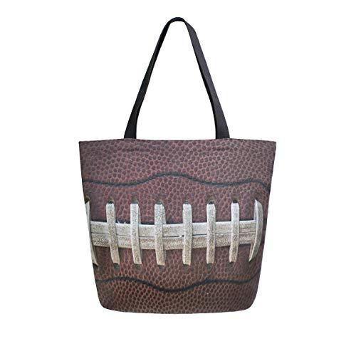 Naanle Sport Canvas Tote Bag Große Frauen Casual Schultertasche Handtasche, American Football Spitze Wiederverwendbare Mehrzweck-Heavy Duty Shopping Lebensmittel-Baumwolltasche für Outdoor