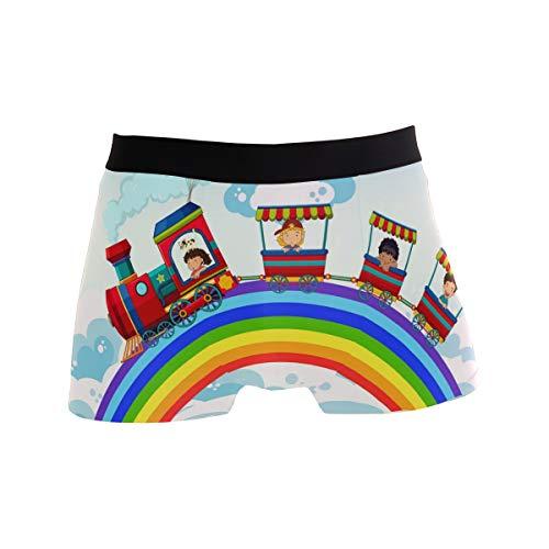 Bonipe Herren Boxershorts mit Cartoon-Zug und Regenbogen-Wolken, Stretch, atmungsaktiv, niedrig geschnitten, Größe S Gr. M, mehrfarbig