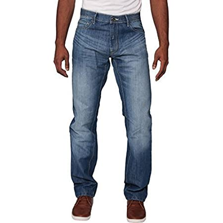New Mens Enzo Regular Fit Straight Denim Blue Jeans Pants All Waist Sizes Light Stone Wash 38 W X34L
