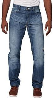 New Mens Enzo Regular Fit Straight Denim Blue Jeans Pants All Waist Sizes Light Stone Wash