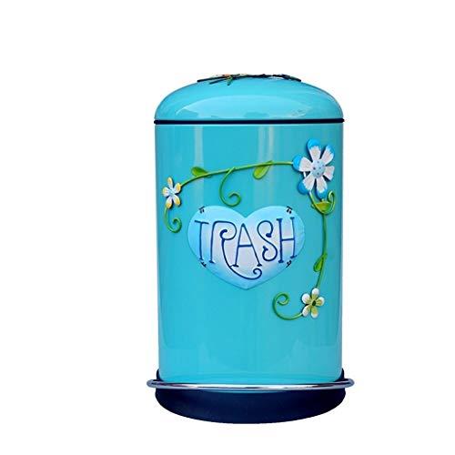 Bote de basura Bote de basura con capacidad para 8 litros con tapa Mudo de basura con pedal de silencio Adecuado para la sala de estar Habitación para niños Cesta de basura comercial ( Color : Blue )