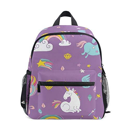 Mochila Escolar para niños con Correa para el Pecho, diseño de Dinosaurio Morado Unicorn 075 Talla única