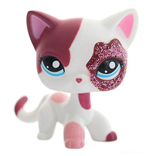 Shorthair Cats Pretty Pet Cat Spotted Pink White Kitten – Standing Blue Eyes with Sparkling Glittering Eye Cat Figure - Cute Short Hair Toys for Kids - Girls & Boys - Age 4 & Up - 1pc