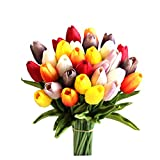 Mandy's 30pcs Multicolor 14' Artificial Tulips Flowers for Wedding Party Home Decoration (vase not Include)