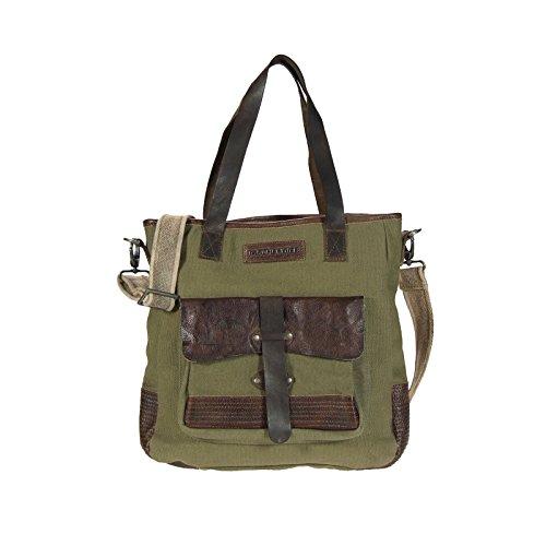 Taschendieb Shopper Vintage Canvas mit Leder, Olive
