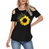 Camisetas de verano para mujer de manga corta Mangas cortas con hombros descubiertos Cuello Redondo Camiseta Sudadera Shirts Camisetas, tops y blusas