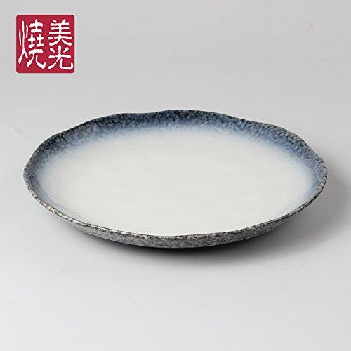 YUWANW Rond Assiette à Steak Disque en céramique Assiettes Western Plat à rôtir Sashimi Disc Plateau Centre Plateau Inventaire de Plats froids, Petite Taille 26 x 3.3 cm