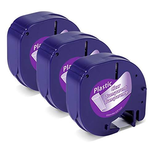 Etichette Markurlife Compatibile In sostituzione di Nastro DYMO LetraTag Plastica Trasparente 12mm x 4m Cartucce Ricarica per Dymo LetraTag LT-100H LT-100T, DYMO XR XM QX50