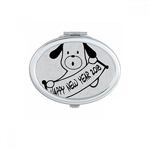 DIYthinker Bonne année 2018 drôle Big Dog Ovale Maquillage Compact Miroir de Poche Portable Mignon Petit Miroirs Main Cadeau Multicolor