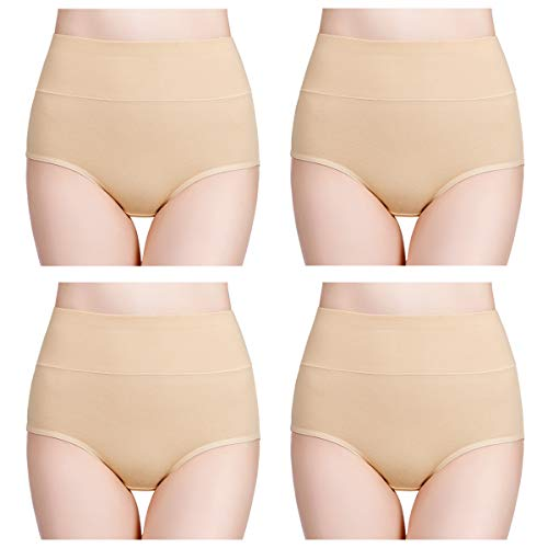 wirarpa Damen Unterhosen Baumwolle Slips Damen Hoher Taille Atmungsaktive Taillenslip Wochenbett Unterwäsche Mehrpack Größen 32-58, Hautfarbe, Medium (38/40)