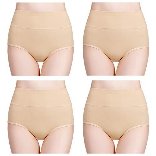 wirarpa Damen Unterhosen Baumwolle Slips Damen Hoher Taille Atmungsaktive Taillenslip Wochenbett Unterwäsche Mehrpack Größen 32-58, Hautfarbe, Large (42/44)