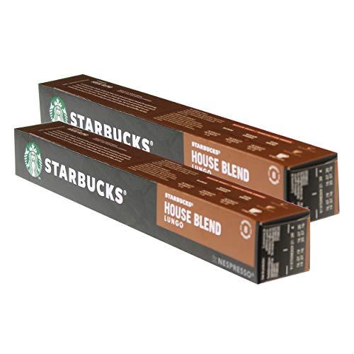 Starbucks House Blend Lungo Kaffee, 2er Set, Medium Roast, Röstkaffee, Nespresso kompatibel, Kaffeekapseln, 20 Kapseln