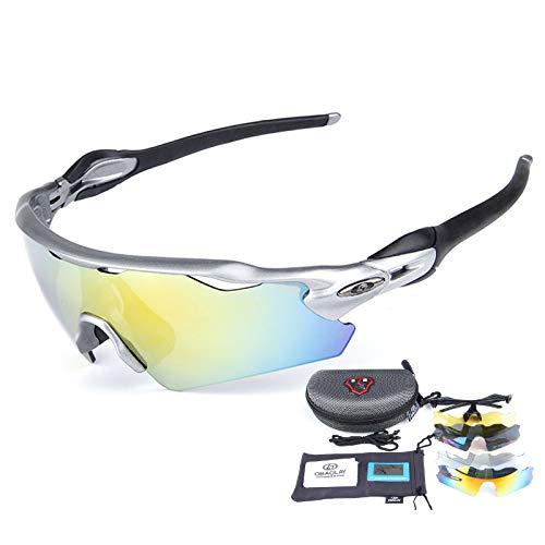 ZYQDRZ Gafas Deportivas Polarizadas para Ciclismo, Gafas para Bicicleta, con 5 Lentes Intercambiables, Utilizadas para Deportes De Pesca, Conducción Y Ciclismo Al Aire Libre,Plata
