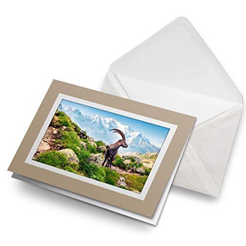Awesome Greeting Cards Biege (inserto) – Alpine Ibex Mont Blanc Francia tarjeta de felicitación en blanco, cumpleaños para niños y niñas #16280