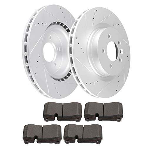 Premium Front Drilled & Slotted brake Rotor Ceramic Pads Brake Kit ANPART fit for 2006-2009 for Land Rover Range Rover Sport