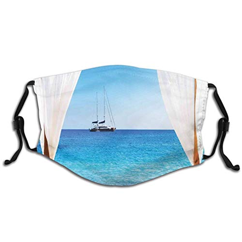 Comfortable Windproof mask,Beach Through A Balinese Bed Summer Sunshine Clear Sky Honeymoon Natural Spa Picture,Printed Facial decorations for Kids and Teens