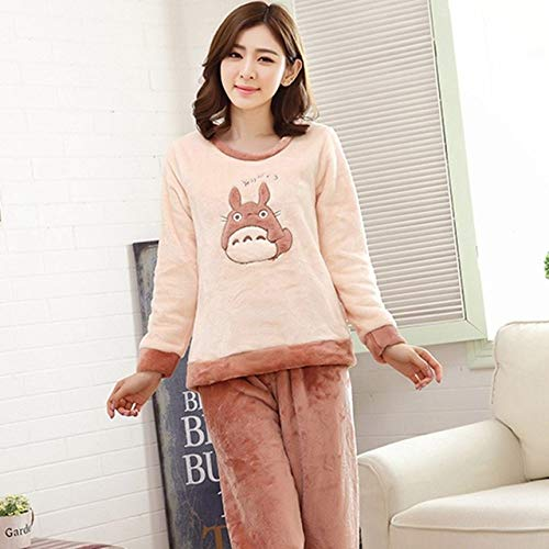 HIUGHJ Winter-Pyjama, langärmlig, Korallen-Samt, süße Cartoon-Kleidung, dick, warm, gestreift, Flanell-Pyjama-Set für Damen, h, M