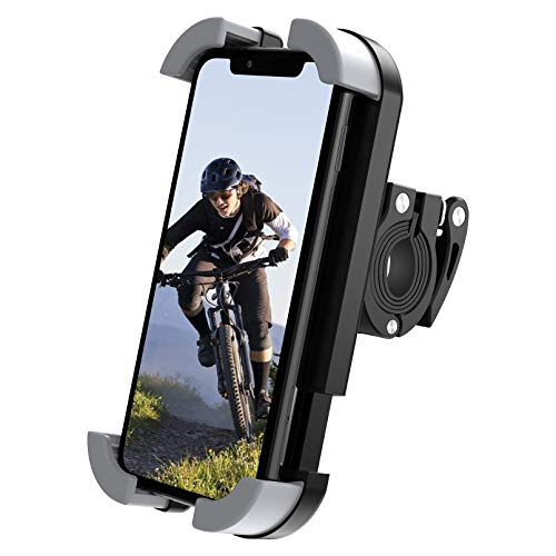 """Bike Phone Mount Motorcycle Phone Holder, SUPRAPID One Hand Operation Anti-Shake Cell Phone Holder 360° Rotation Handlebars Clip for iPhone X, XR, 11, 12, S8, S9, S10, Holds Phones Up to 3.1"""" Wide"""