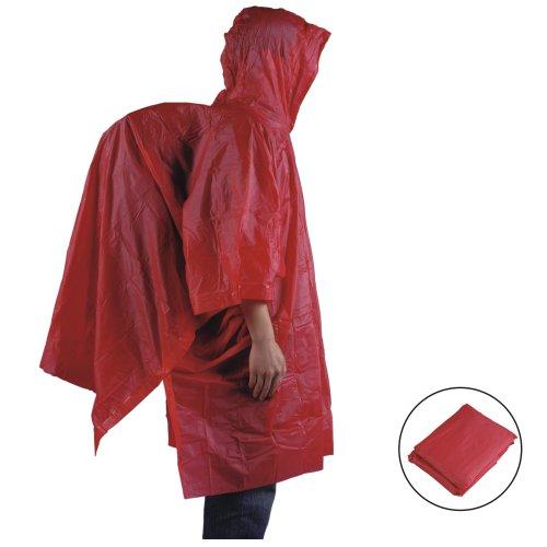 AceCamp Leichter Regen Poncho mit Rucksack Abdeckung, 3/4 Arm, Rot, 3908
